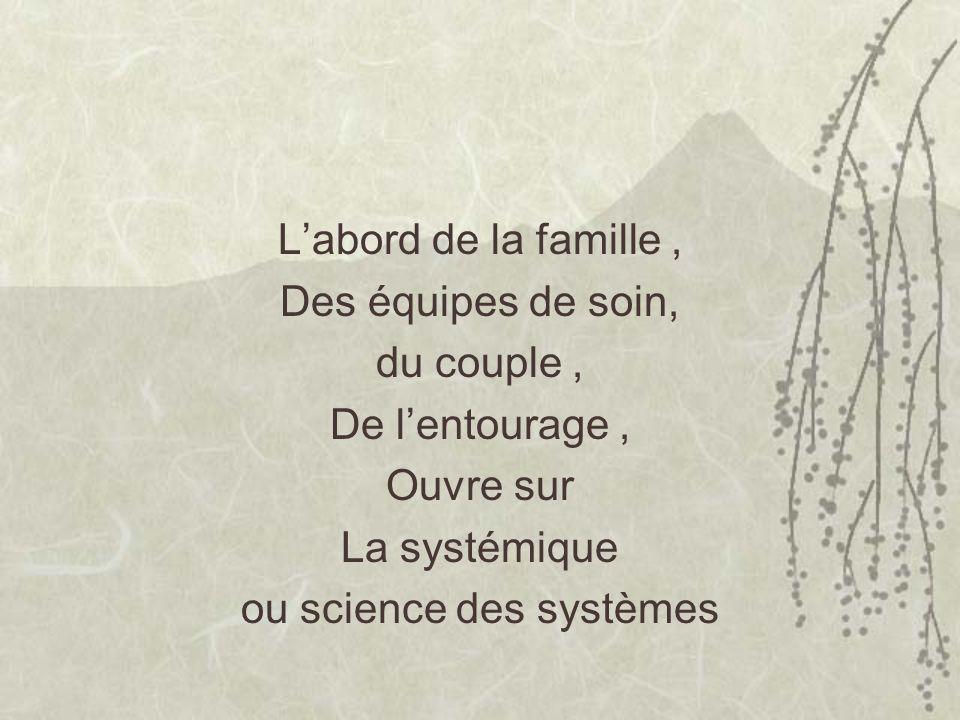 Labord de la famille, Des équipes de soin, du couple, De lentourage, Ouvre sur La systémique ou science des systèmes