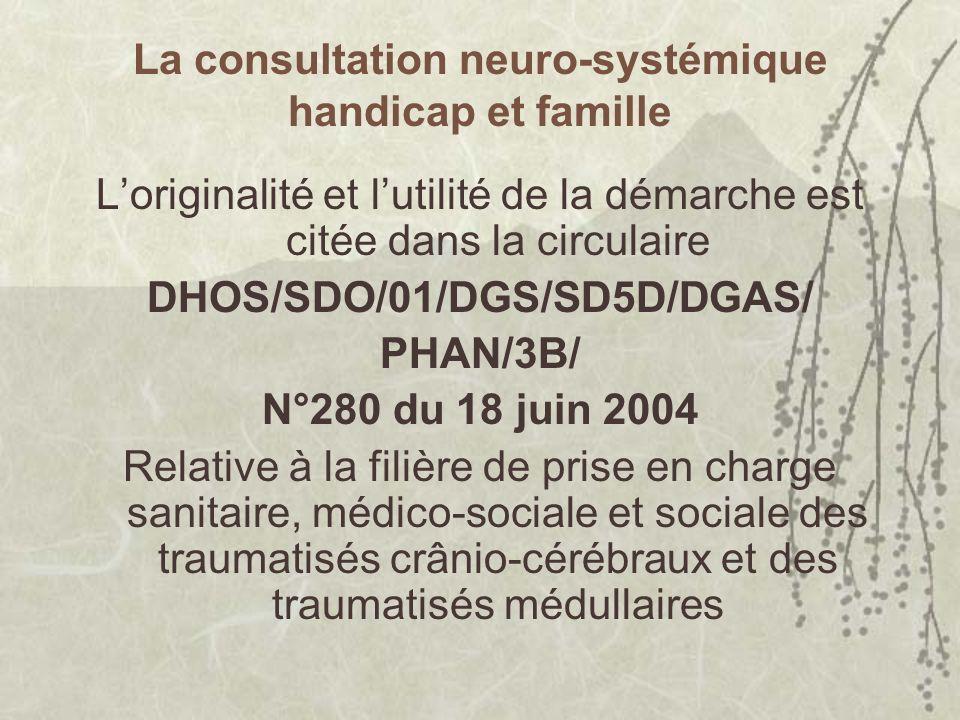La consultation neuro-systémique handicap et famille Loriginalité et lutilité de la démarche est citée dans la circulaire DHOS/SDO/01/DGS/SD5D/DGAS/ PHAN/3B/ N°280 du 18 juin 2004 Relative à la filière de prise en charge sanitaire, médico-sociale et sociale des traumatisés crânio-cérébraux et des traumatisés médullaires