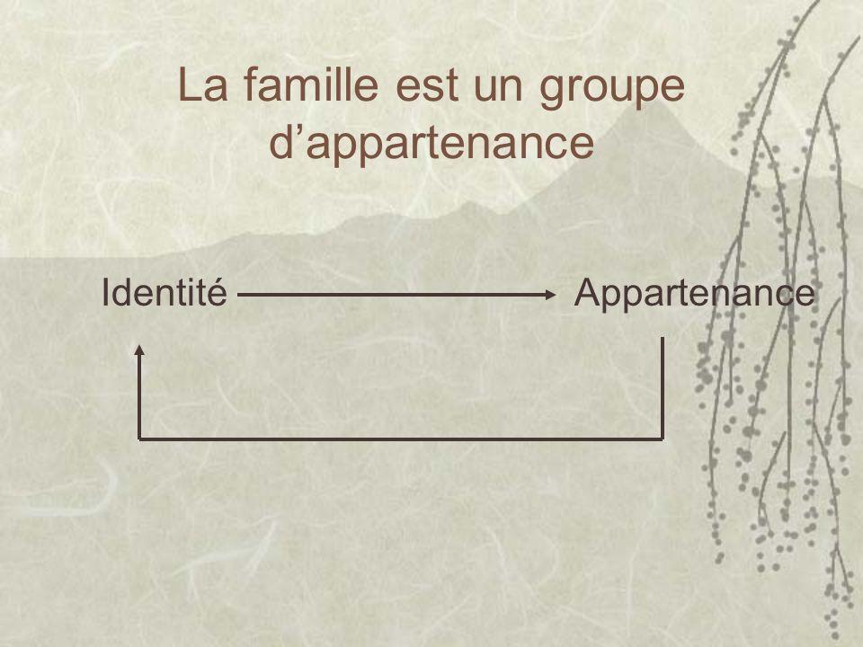 La famille est un groupe dappartenance Identité Appartenance