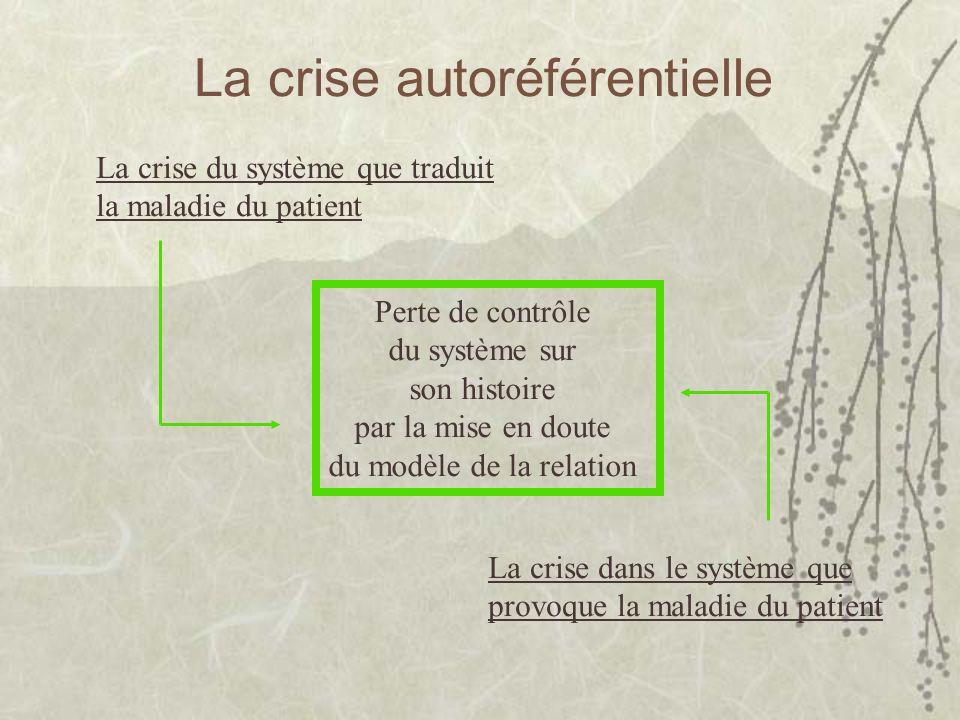 La crise autoréférentielle La crise du système que traduit la maladie du patient Perte de contrôle du système sur son histoire par la mise en doute du modèle de la relation La crise dans le système que provoque la maladie du patient