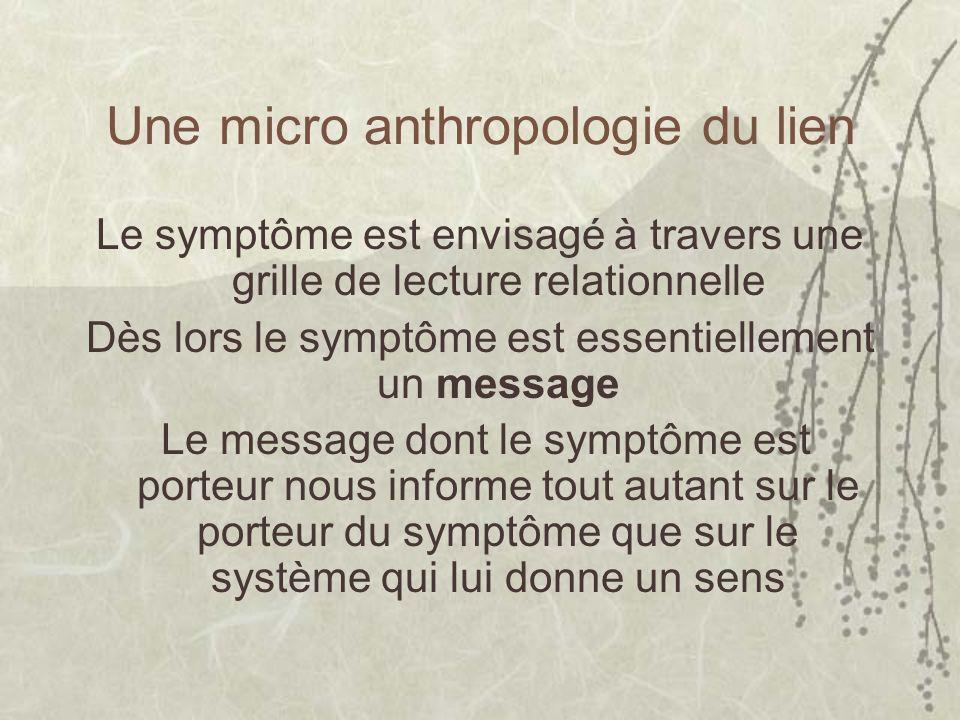 Une micro anthropologie du lien Le symptôme est envisagé à travers une grille de lecture relationnelle Dès lors le symptôme est essentiellement un message Le message dont le symptôme est porteur nous informe tout autant sur le porteur du symptôme que sur le système qui lui donne un sens