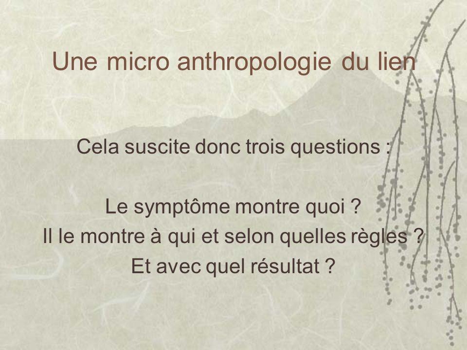 Une micro anthropologie du lien Cela suscite donc trois questions : Le symptôme montre quoi ? Il le montre à qui et selon quelles règles ? Et avec que