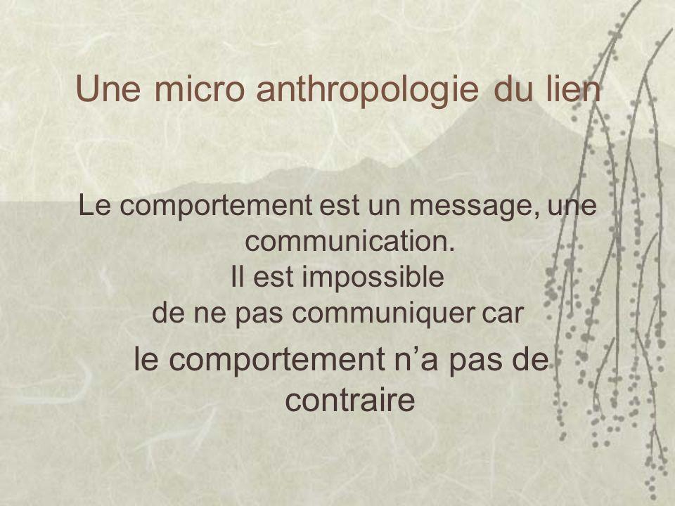 Une micro anthropologie du lien Le comportement est un message, une communication. Il est impossible de ne pas communiquer car le comportement na pas