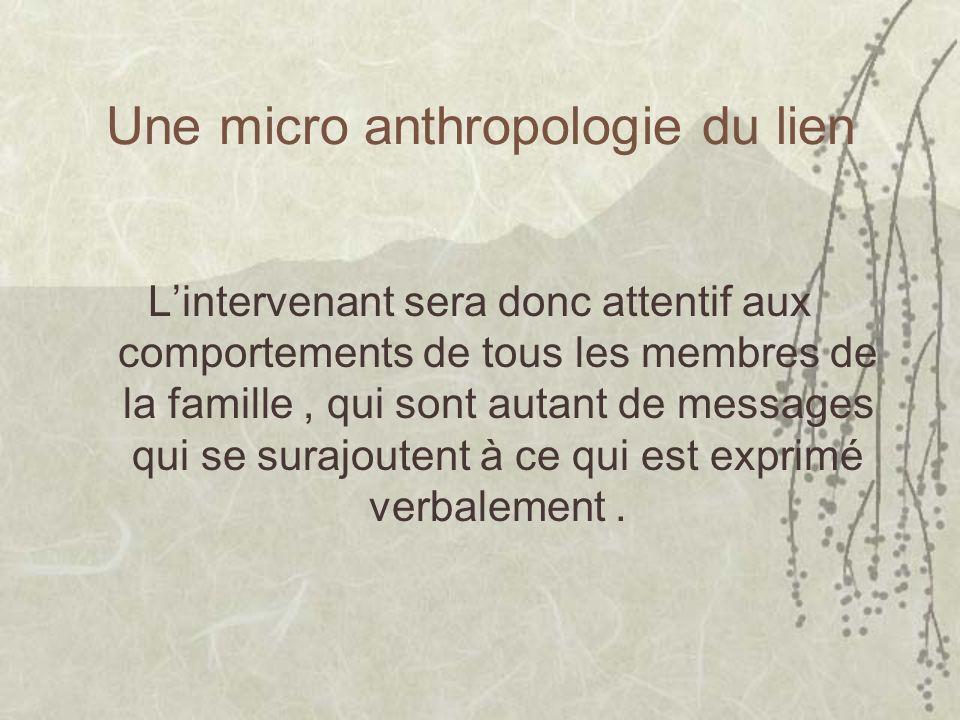 Une micro anthropologie du lien Lintervenant sera donc attentif aux comportements de tous les membres de la famille, qui sont autant de messages qui s
