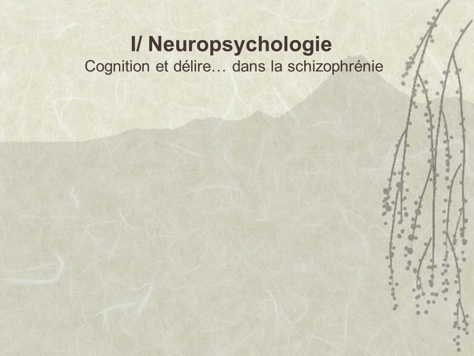 I/ Neuropsychologie Cognition et délire… dans la schizophrénie