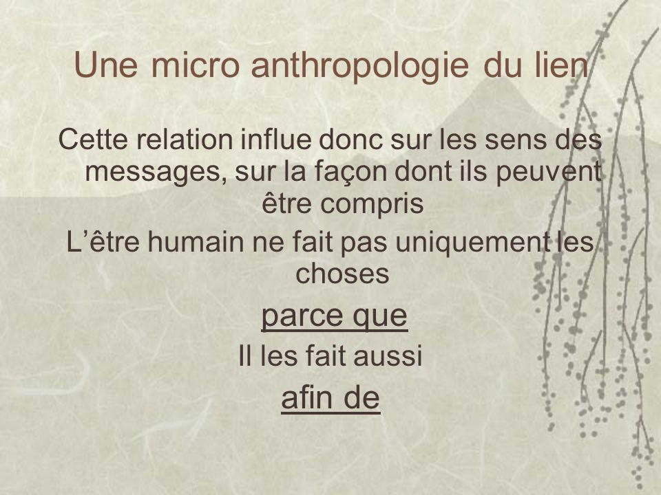 Une micro anthropologie du lien Cette relation influe donc sur les sens des messages, sur la façon dont ils peuvent être compris Lêtre humain ne fait pas uniquement les choses parce que Il les fait aussi afin de