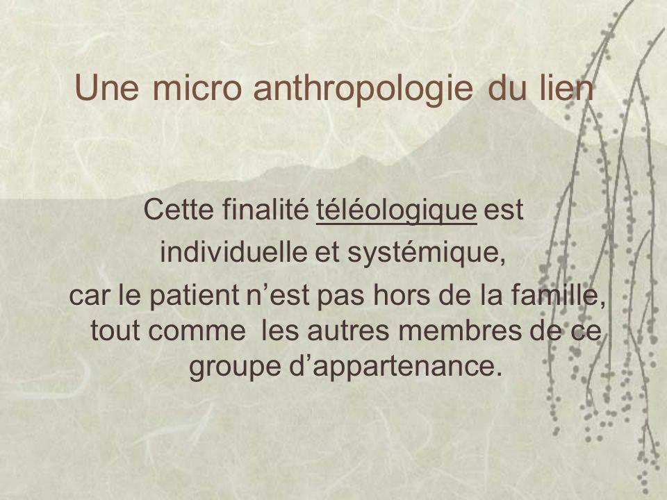 Une micro anthropologie du lien Cette finalité téléologique est individuelle et systémique, car le patient nest pas hors de la famille, tout comme les autres membres de ce groupe dappartenance.