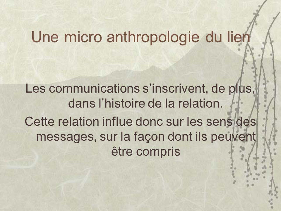 Une micro anthropologie du lien Les communications sinscrivent, de plus, dans lhistoire de la relation. Cette relation influe donc sur les sens des me