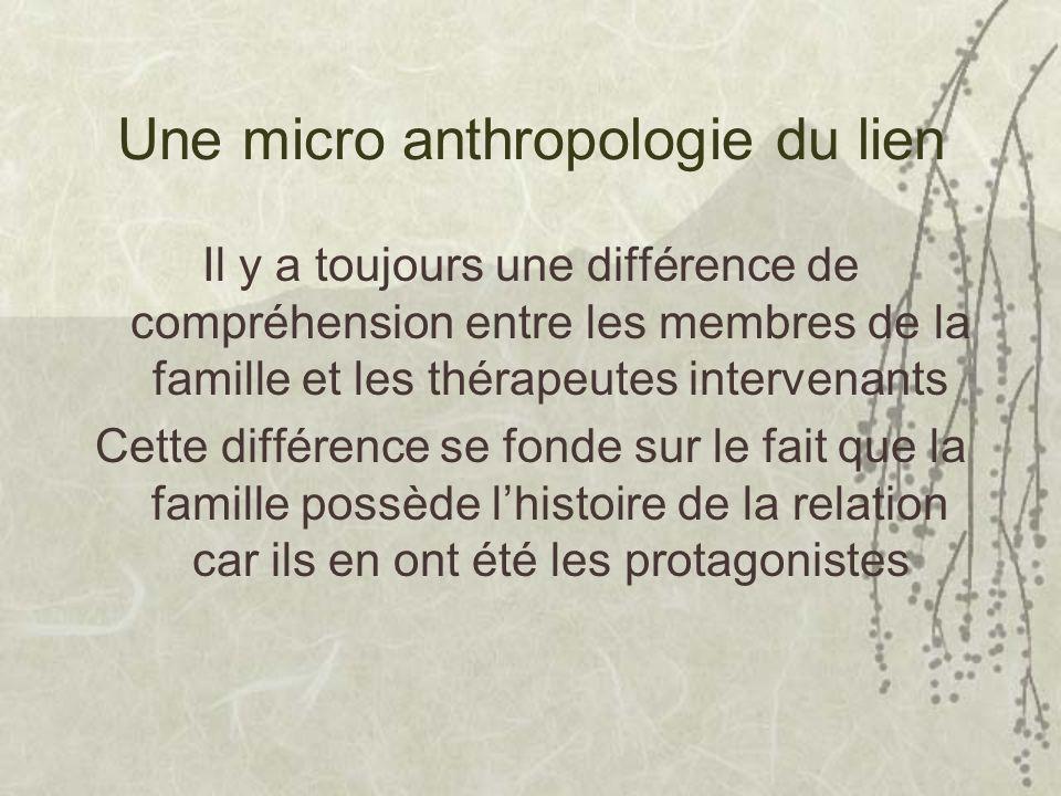 Une micro anthropologie du lien Il y a toujours une différence de compréhension entre les membres de la famille et les thérapeutes intervenants Cette différence se fonde sur le fait que la famille possède lhistoire de la relation car ils en ont été les protagonistes