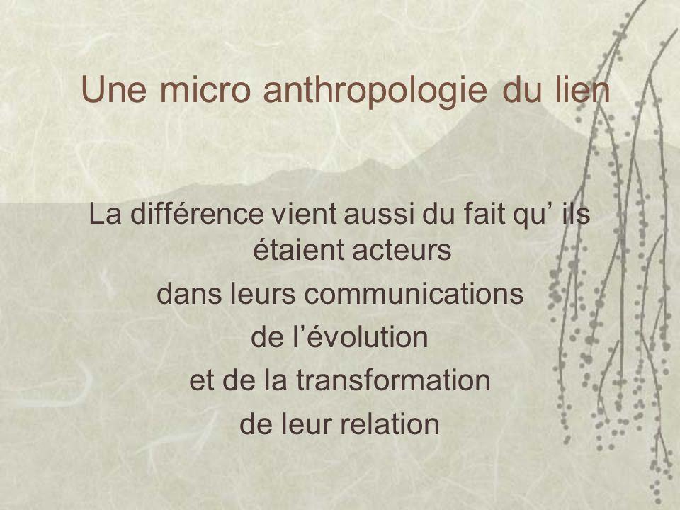 Une micro anthropologie du lien La différence vient aussi du fait qu ils étaient acteurs dans leurs communications de lévolution et de la transformation de leur relation