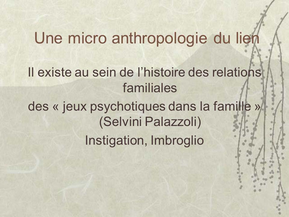Une micro anthropologie du lien Il existe au sein de lhistoire des relations familiales des « jeux psychotiques dans la famille » (Selvini Palazzoli) Instigation, Imbroglio