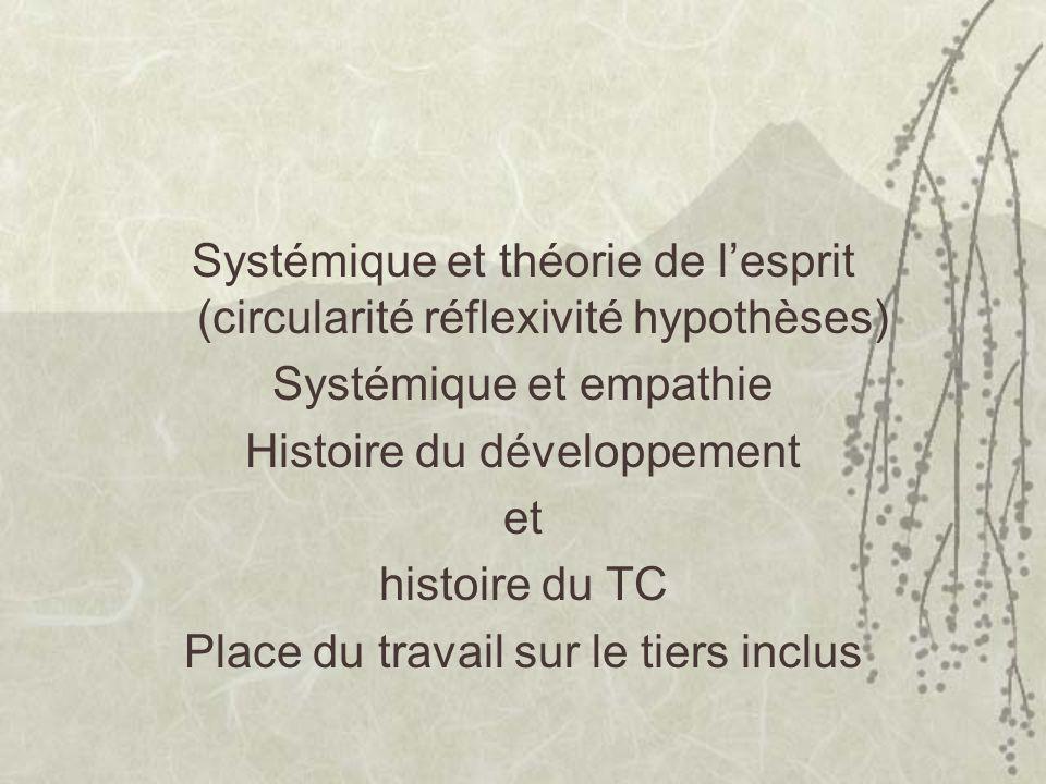 Systémique et théorie de lesprit (circularité réflexivité hypothèses) Systémique et empathie Histoire du développement et histoire du TC Place du travail sur le tiers inclus