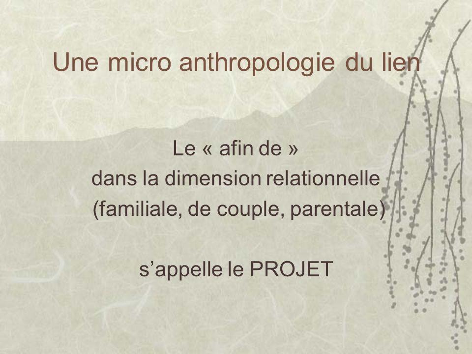 Une micro anthropologie du lien Le « afin de » dans la dimension relationnelle (familiale, de couple, parentale) sappelle le PROJET