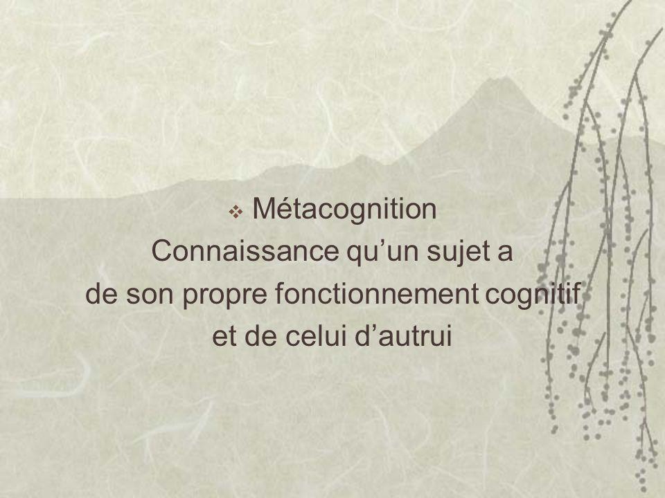 Métacognition Connaissance quun sujet a de son propre fonctionnement cognitif et de celui dautrui