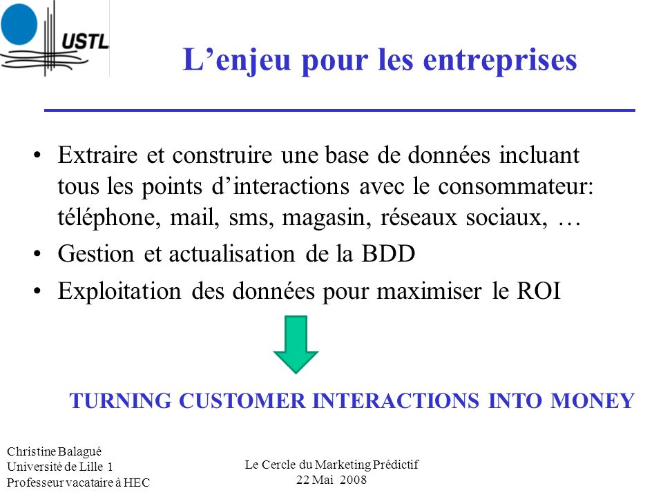 Les 6 priorités 2008-2010 du Marketing Science Institute Accountability and ROI of Marketing Expenditures Understanding Consumer/Customer Behavior New Approaches to Generating Customer Insights Innovation Marketing Strategy New media Christine Balagué Université de Lille 1 Professeur vacataire à HEC Le Cercle du Marketing Prédictif 22 Mai 2008