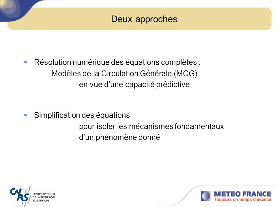 Conseil dAdministration du 30 juin 2006 Approximation axisymétrique Moyenne longitudinale Application: circulation de Hadley, mousson Deuxième approche : Simplification des équations primitives