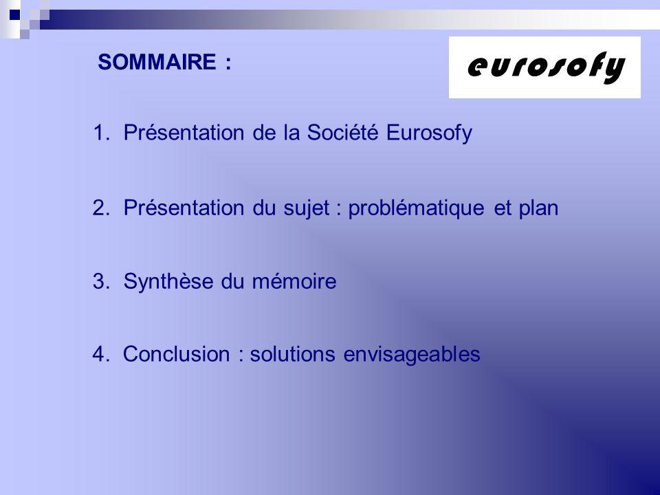 1. Présentation de la Société Eurosofy 2. Présentation du sujet : problématique et plan 3. Synthèse du mémoire 4. Conclusion : solutions envisageables