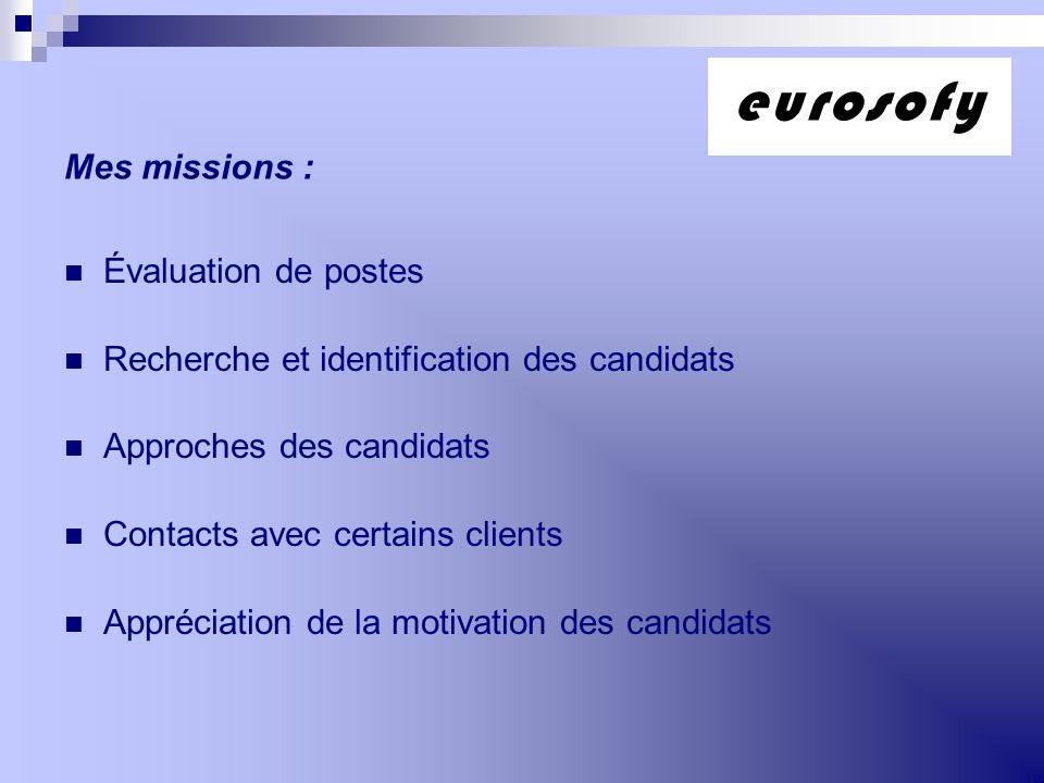 Mes missions : Évaluation de postes Recherche et identification des candidats Approches des candidats Contacts avec certains clients Appréciation de l