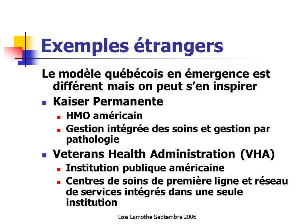Lise Lamothe Septembre 2006 Exemples étrangers Le modèle québécois en émergence est différent mais on peut sen inspirer Kaiser Permanente HMO américai