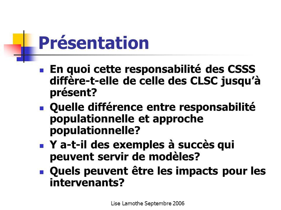 Lise Lamothe Septembre 2006 Présentation En quoi cette responsabilité des CSSS diffère-t-elle de celle des CLSC jusquà présent? Quelle différence entr