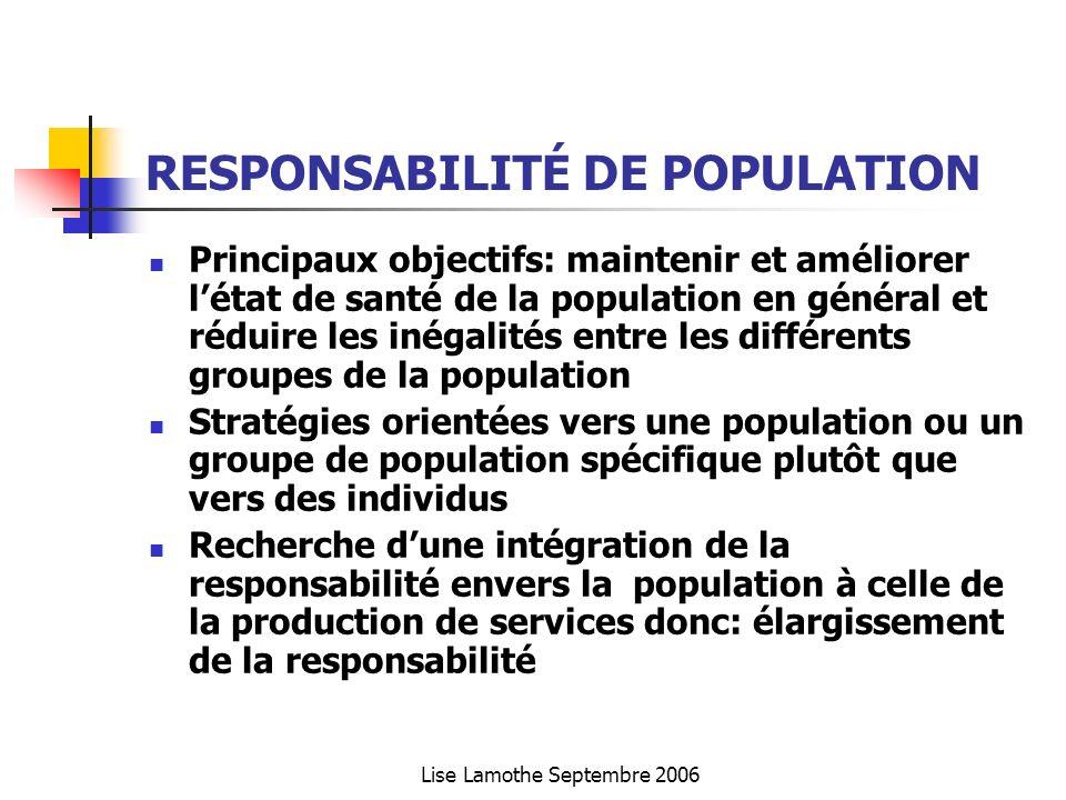 Lise Lamothe Septembre 2006 RESPONSABILITÉ DE POPULATION Principaux objectifs: maintenir et améliorer létat de santé de la population en général et ré