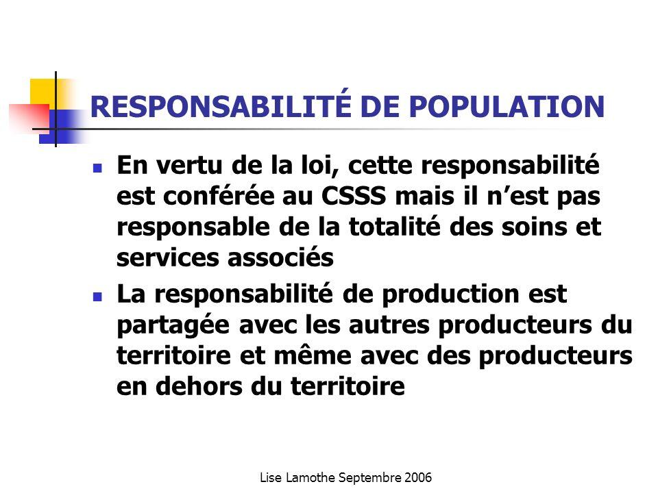 Lise Lamothe Septembre 2006 RESPONSABILITÉ DE POPULATION En vertu de la loi, cette responsabilité est conférée au CSSS mais il nest pas responsable de