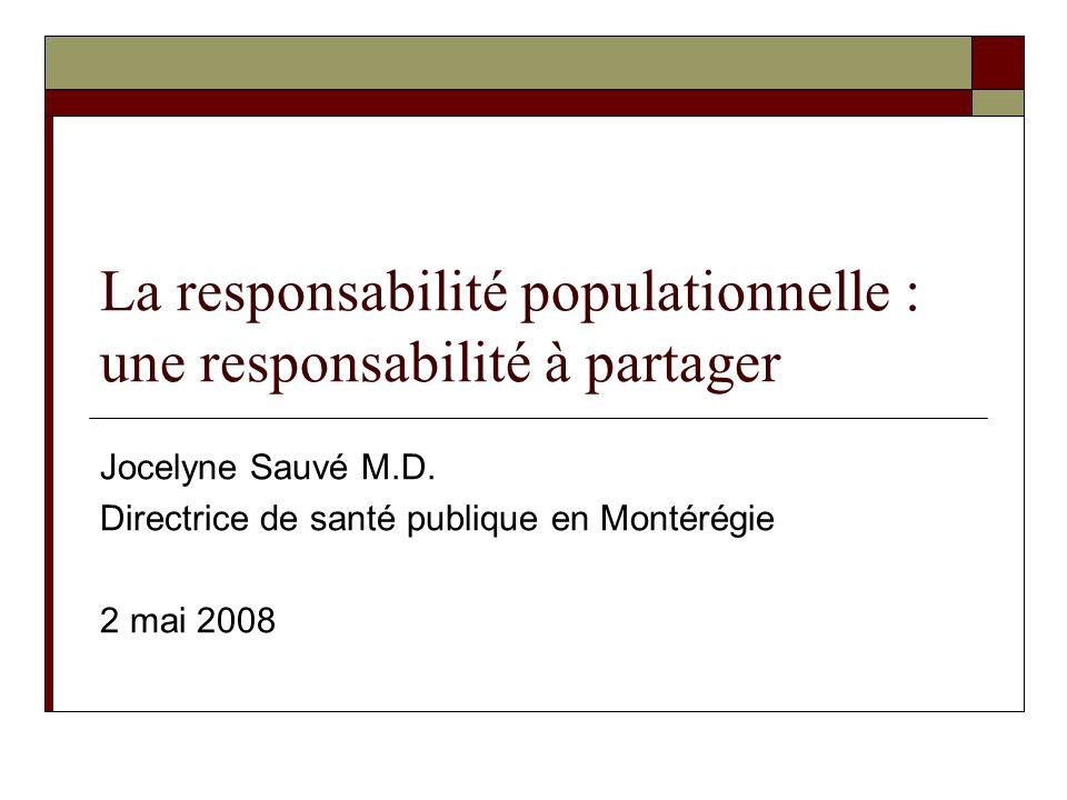 Clarification des concepts Responsabilité populationnelle Va au delà dune responsabilité envers une clientèle Responsabilité des CSSS envers une population définie sur base géographique Nécessite un renouveau dans les modes de planification Approche populationnelle