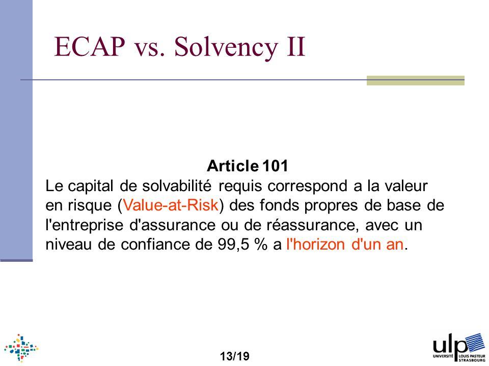 ECAP vs. Solvency II Article 101 Le capital de solvabilité requis correspond a la valeur en risque (Value-at-Risk) des fonds propres de base de l'entr