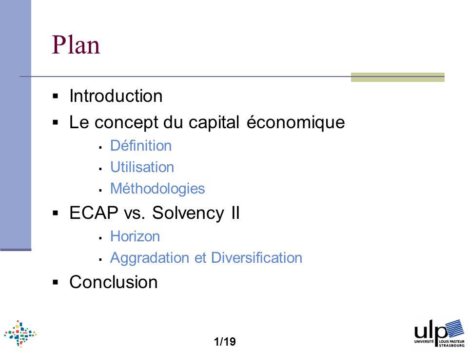Introduction Le capital économique est un outil qui nous permet dévaluer lexposition aux risque dun compagnie dassurance Quelques termes usuelles Modèle/Outil de projection Modèle Interne Formule Standard SCR Capital Réglementaire ECAP Capital Économique 2/19