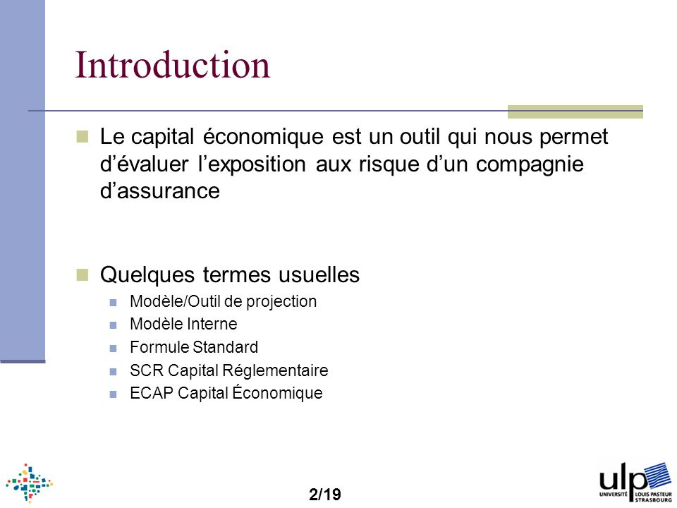 Introduction Le capital économique est un outil qui nous permet dévaluer lexposition aux risque dun compagnie dassurance Quelques termes usuelles Modè