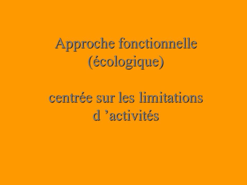 Approche fonctionnelle (écologique) centrée sur les limitations d activités