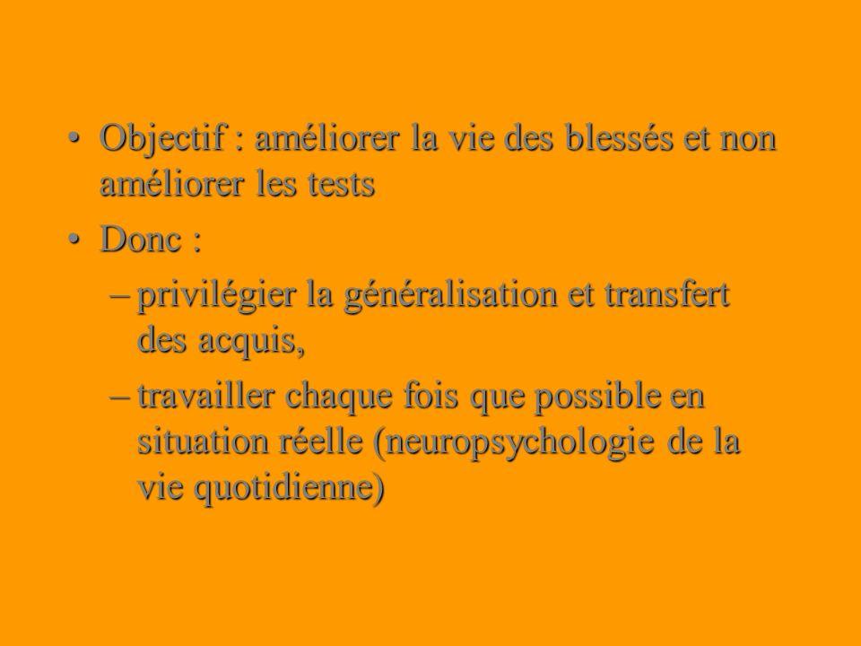 Objectif : améliorer la vie des blessés et non améliorer les testsObjectif : améliorer la vie des blessés et non améliorer les tests Donc :Donc : –pri