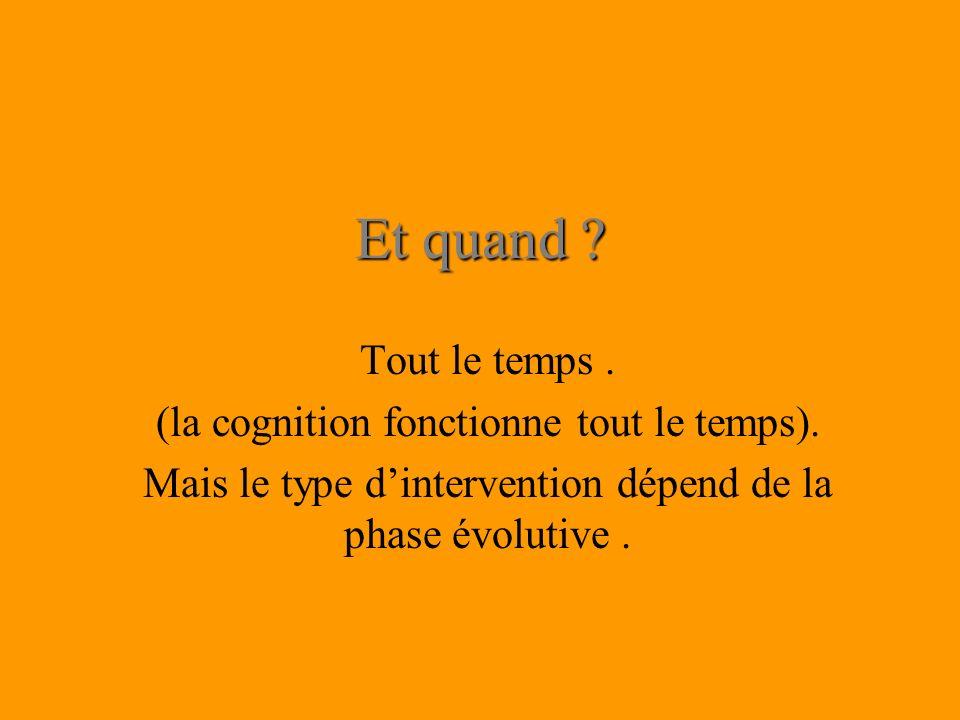 Et quand ? Tout le temps. (la cognition fonctionne tout le temps). Mais le type dintervention dépend de la phase évolutive.