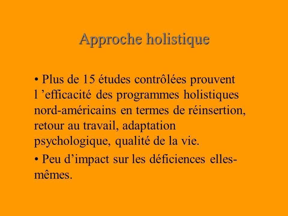 Approche holistique Plus de 15 études contrôlées prouvent l efficacité des programmes holistiques nord-américains en termes de réinsertion, retour au