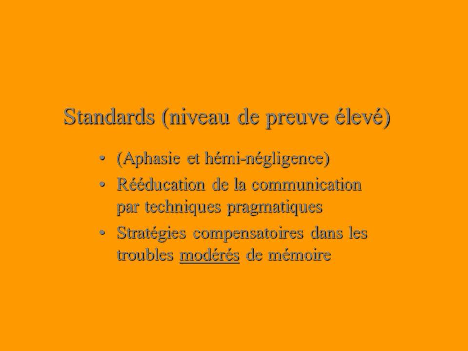 Standards (niveau de preuve élevé) (Aphasie et hémi-négligence)(Aphasie et hémi-négligence) Rééducation de la communication par techniques pragmatique