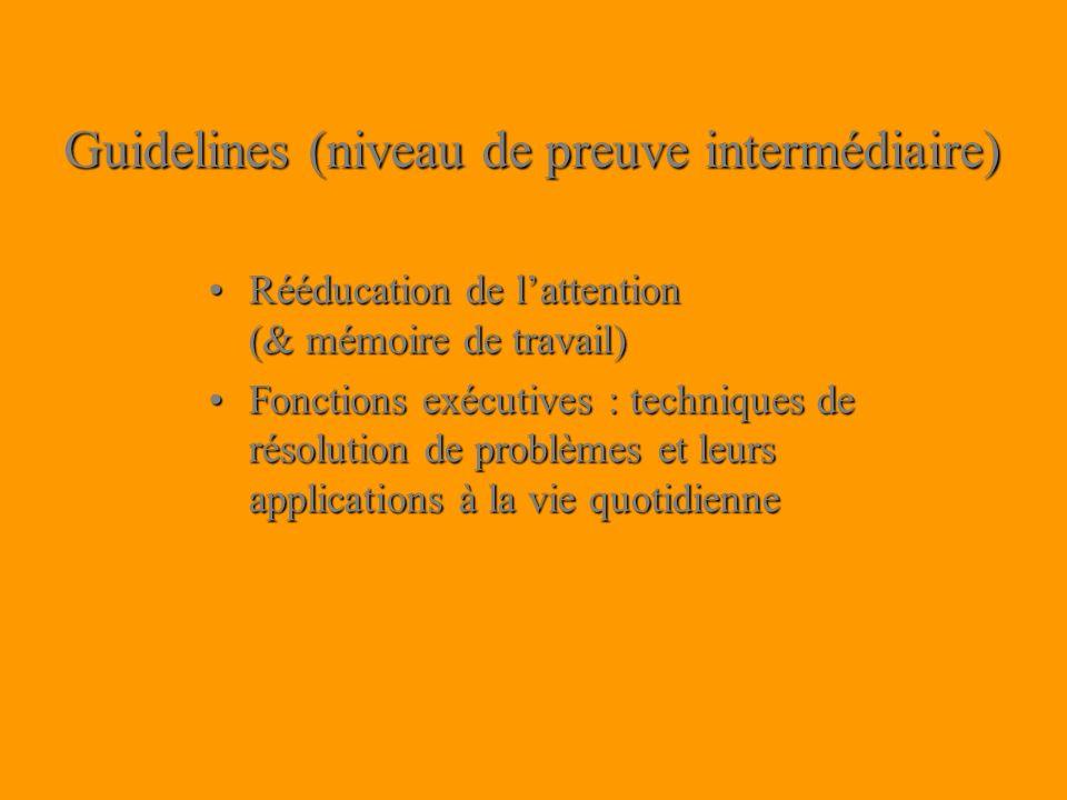 Guidelines (niveau de preuve intermédiaire) Rééducation de lattention (& mémoire de travail)Rééducation de lattention (& mémoire de travail) Fonctions