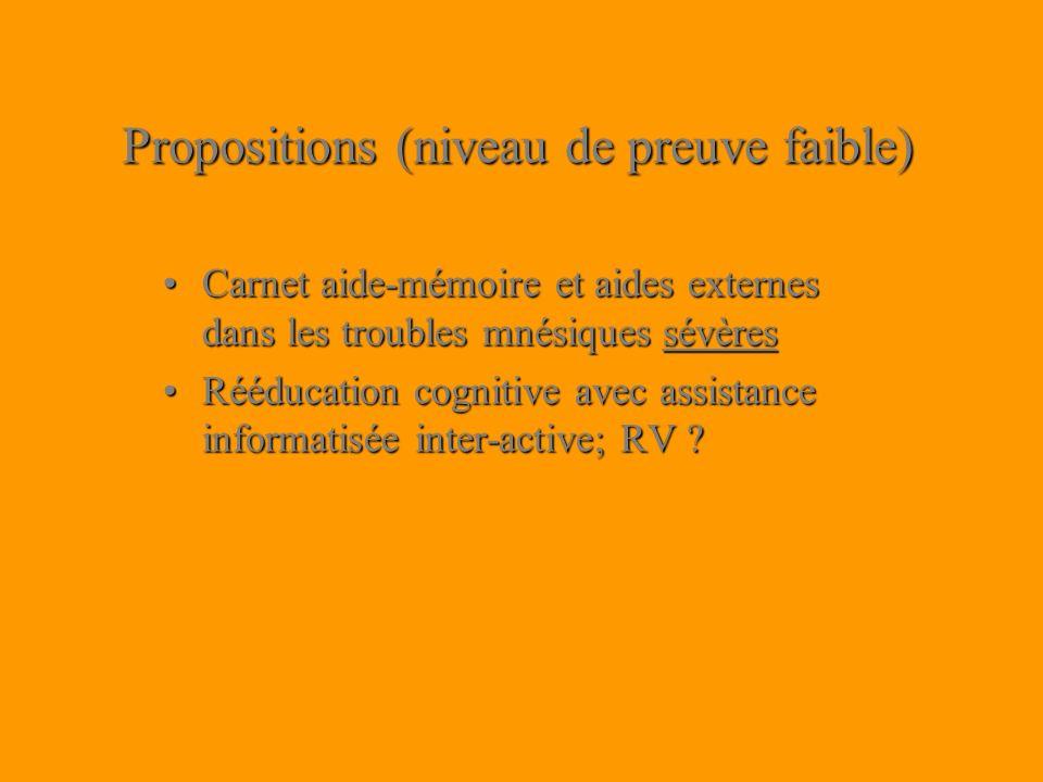 Propositions (niveau de preuve faible) Carnet aide-mémoire et aides externes dans les troubles mnésiques sévèresCarnet aide-mémoire et aides externes