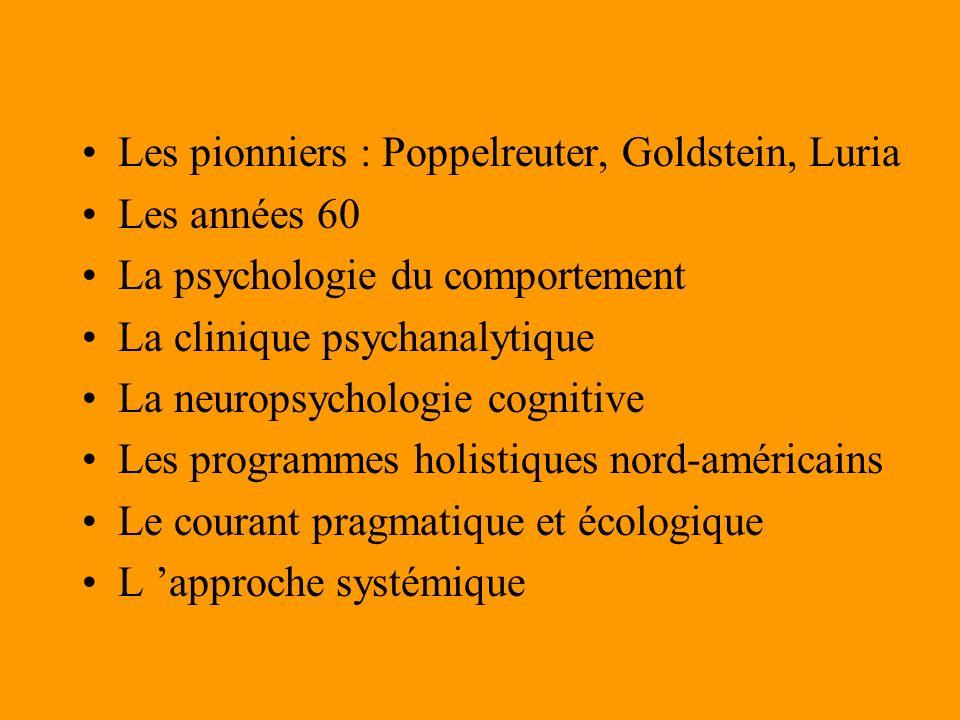 Les pionniers : Poppelreuter, Goldstein, Luria Les années 60 La psychologie du comportement La clinique psychanalytique La neuropsychologie cognitive