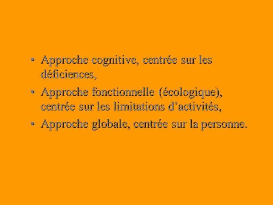 Approche cognitive, centrée sur les déficiences,Approche cognitive, centrée sur les déficiences, Approche fonctionnelle (écologique), centrée sur les