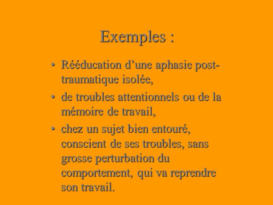 Exemples : Rééducation dune aphasie post- traumatique isolée,Rééducation dune aphasie post- traumatique isolée, de troubles attentionnels ou de la mém