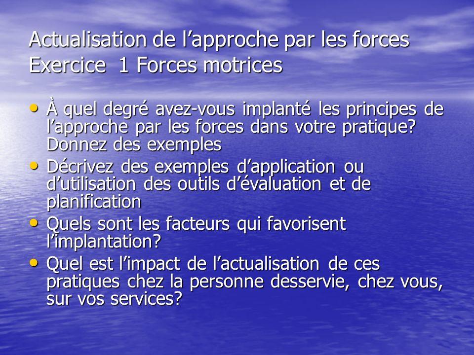 Actualisation de lapproche par les forces Exercice 1 Forces motrices À quel degré avez-vous implanté les principes de lapproche par les forces dans vo
