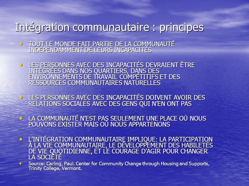 Intégration communautaire : principes TOUT LE MONDE FAIT PARTIE DE LA COMMUNAUTÉ INDÉPENDAMMENT DE LEURS INCAPACITÉS TOUT LE MONDE FAIT PARTIE DE LA C