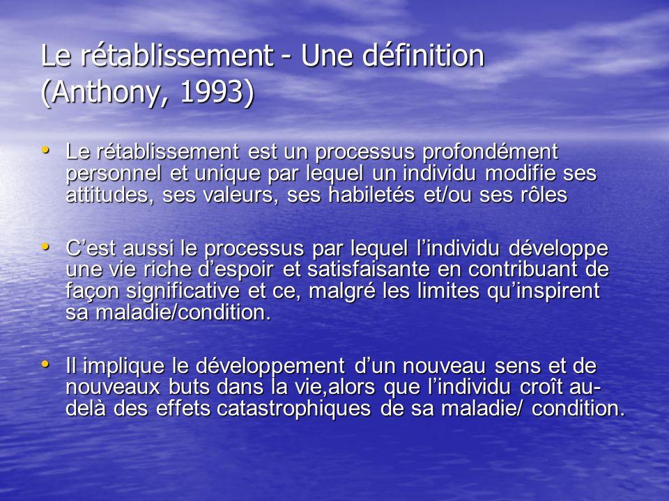 Le rétablissement - Une définition (Anthony, 1993) Le rétablissement est un processus profondément personnel et unique par lequel un individu modifie
