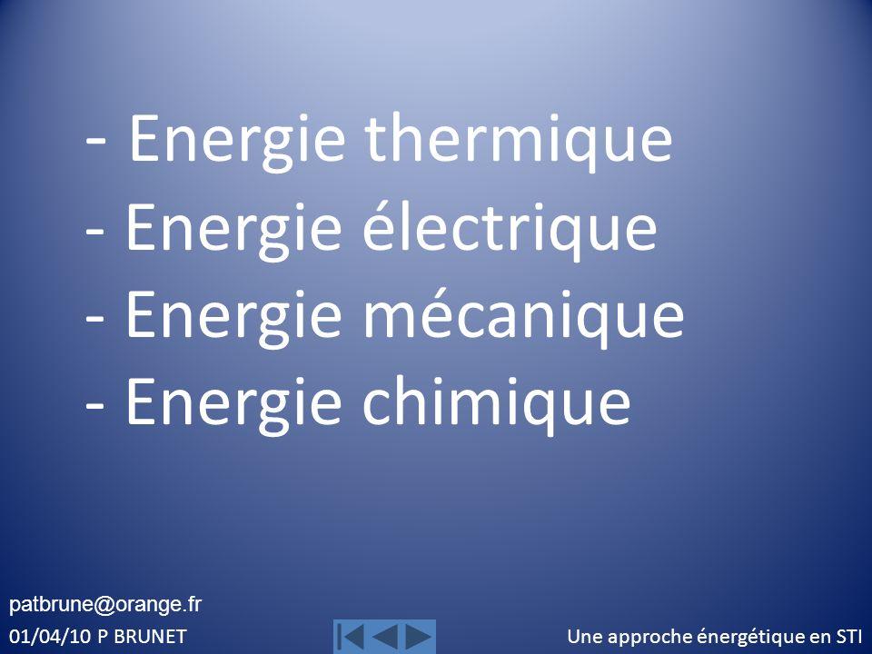 Une approche énergétique en STI01/04/10 P BRUNET Transformation de lénergie électrique en énergie thermique