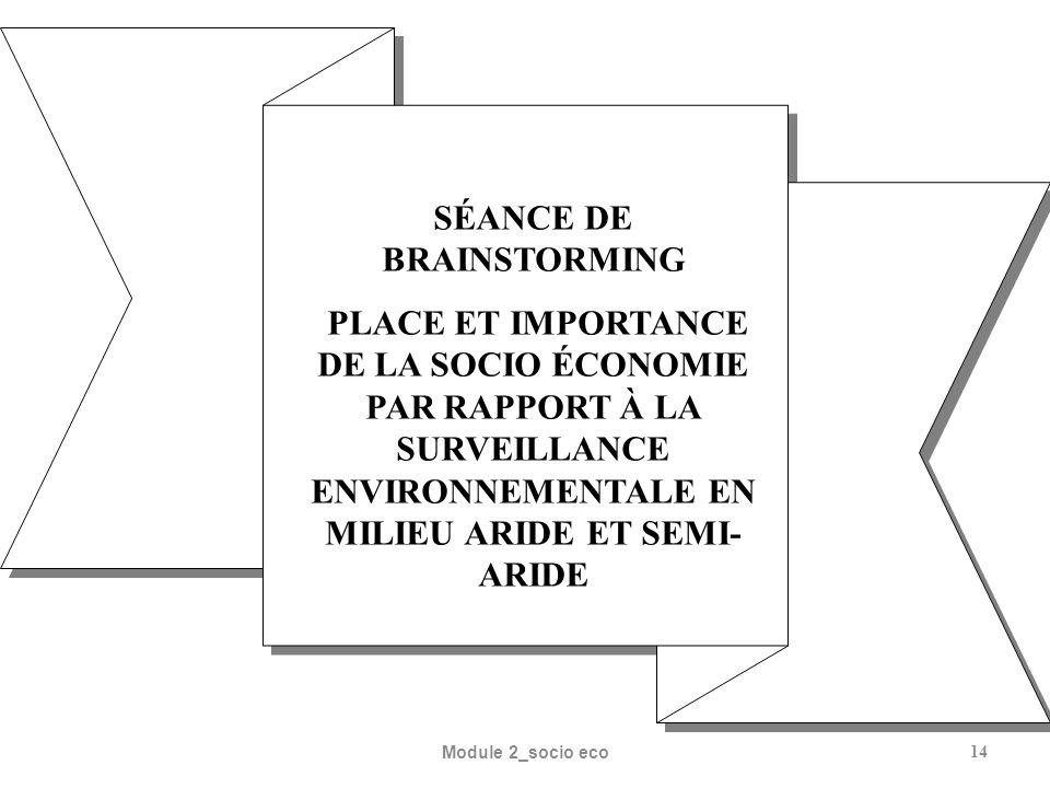 Module 2_socio eco14 SÉANCE DE BRAINSTORMING PLACE ET IMPORTANCE DE LA SOCIO ÉCONOMIE PAR RAPPORT À LA SURVEILLANCE ENVIRONNEMENTALE EN MILIEU ARIDE ET SEMI- ARIDE