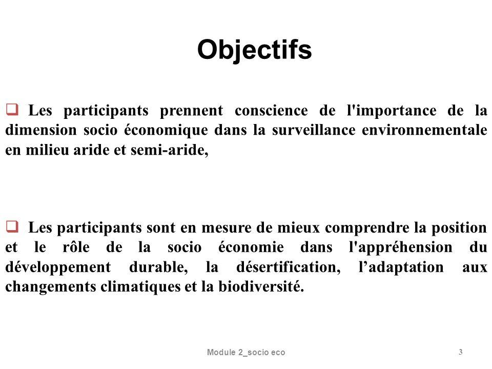 JOURNEE 1 (Après midi) Introduction du module 2 (Durée : 15 ) Séance de brainstorming sur Enjeux et liens de la socio économique avec le développement durable, la désertification, ladaptation aux changements climatiques et la biodiversité.