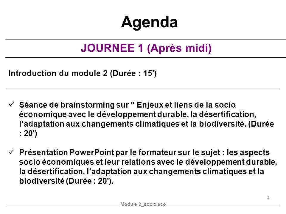 JOURNEE 1 (Après midi) Introduction du module 2 (Durée : 15') Séance de brainstorming sur