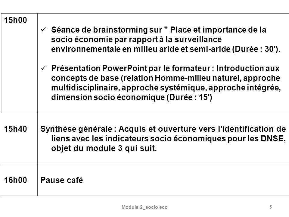 15h00 Séance de brainstorming sur Place et importance de la socio économie par rapport à la surveillance environnementale en milieu aride et semi-aride (Durée : 30 ).