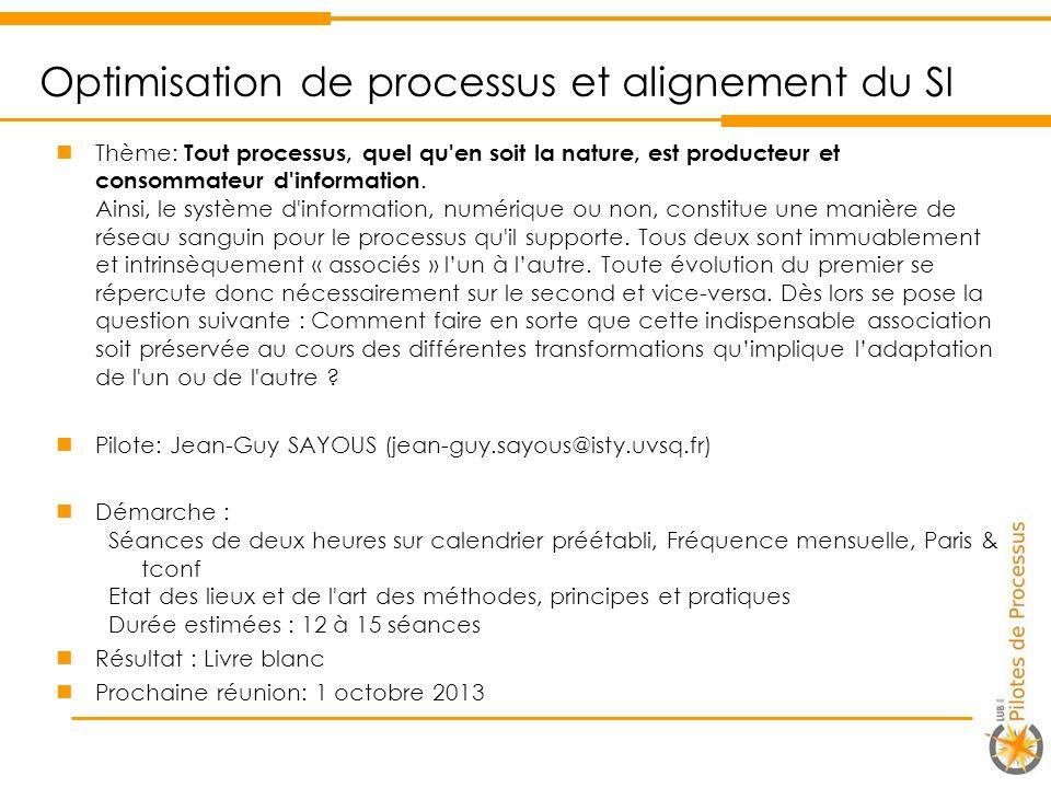 Optimisation de processus et alignement du SI Thème: Tout processus, quel qu en soit la nature, est producteur et consommateur d information.