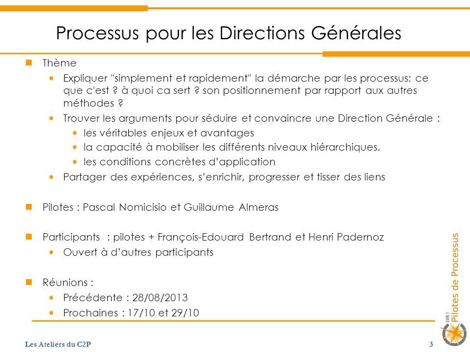 Processus pour les Directions Générales Thème Expliquer simplement et rapidement la démarche par les processus: ce que c est .